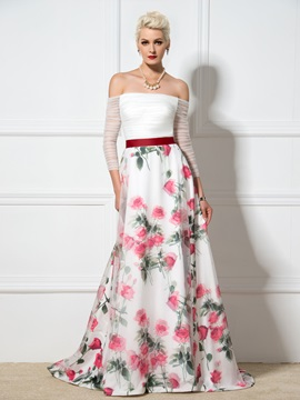 Stunning Off-the-Shoulder 3/4-Length Sleeves A-Line Lace-up Print Evening Dress & Designer Dresses for sale