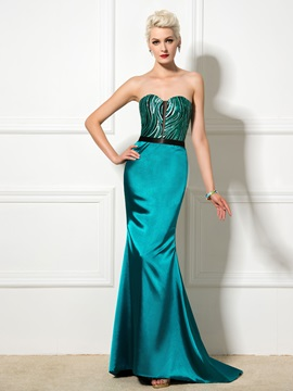 Elegant Sweetheart Sequined Lace-up Long Trumpet Evening Dress & Designer Dresses online