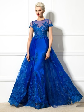 Graceful Jewel Neck Appliques Short Sleeve Lace-up Long Evening Dress & amazing Designer Dresses