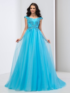 Dramatic Sweetheart Appliuqes Beaded Cap Sleeves A-Line Long Prom Dress & Designer Dresses 2012