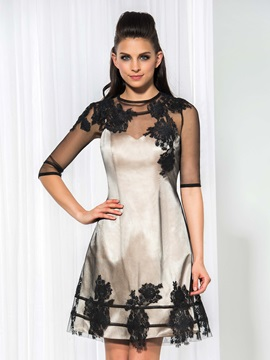 Cool Jewel Neck Half Sleeves Appliques Short Cocktail Dress & affordable Designer Dresses