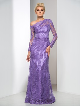 Graceful One Shoulder Long Sleeve Column Long Lace Evening Dress & Designer Dresses under 500