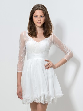 Simple V-Neck A-Line 3/4-Length Sleeves Short White Lace Dress & Designer Dresses under 100
