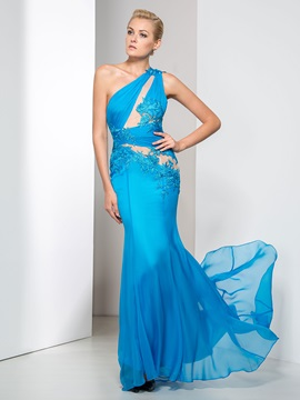 Modern One Shoulder Hollow Appliques Trumpet Evening Dress & Designer Dresses for less