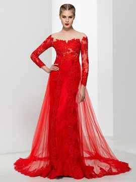 Graceful Long Sleeves Appliques Beading Red Evening Dress & Designer Dresses under 300
