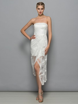 Fancy Strapless Asymmetrical Sheath Lace Party Dress & Designer Dresses under 500