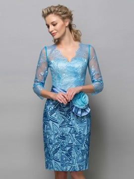 Ladylike V-Neck 3/4 Sleeves Sequins Flower Lace Column Formal Cocktail Dress & Designer Dresses for less