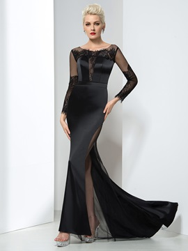 Graceful Scoop Neck Long Sleeve Lace Sheath Long Evening Dress & casual Designer Dresses
