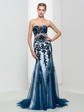 Classy Sweetheart Appliques Beading Mermaid Evening Dress & Designer Dresses for less