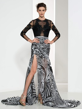 Sexy Backless Jewel Neck Long Sleeve Appliques Print Evening Dress & Designer Dresses under 300
