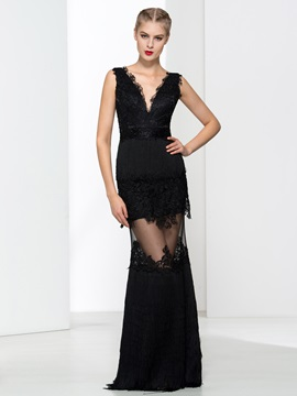 Sexy V-Neck Appliques Tassel Sheath Evening Dress & colored Designer Dresses