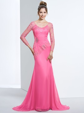 V-Neck Long Sleeves Beading Lace Evening Dress & Designer Dresses for sale