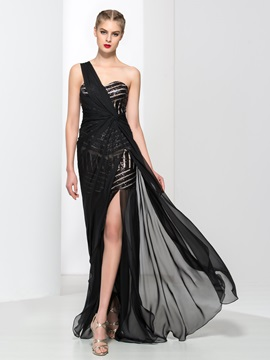 Chic One Shoulder Sequins Split-Front Evening Dress & petite Designer Dresses