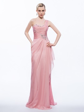 Beautiful One Shoulder Appliques Beading Sheath Evening Dress & vintage style Designer Dresses