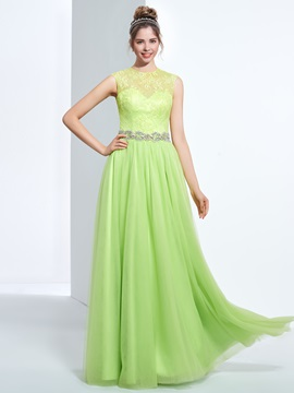 Jewel Neck Beading Button Lace Prom Dress & Designer Dresses for sale