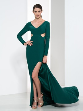 Elegant V-Neck Long Sleeves Hollow Split-Front Evening Dress