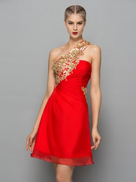 Chic One Shoulder Sequins Appliques Short Cocktail Dress & fairytale Designer Dresses