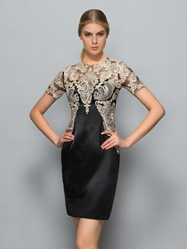 Classy Short Sleeve Appliques Short Cloumn Formal Dress & Designer Dresses from china