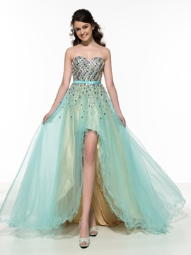 Fashionable Sweetheart Beading Tulle High Low Prom Dress & Designer Dresses for sale
