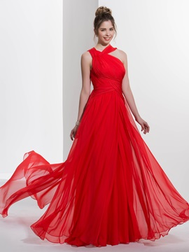 Casual Straps Pleats Watteau Train Red Prom Dress & Designer Dresses for less
