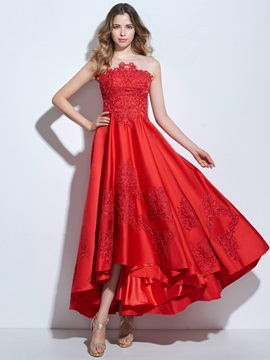 Modern Straps Appliques Asymmetrical Prom Dress & Designer Dresses from china