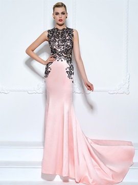 Jewel Neck Court Train Lace Trumpet Evening Dress & quality Designer Dresses