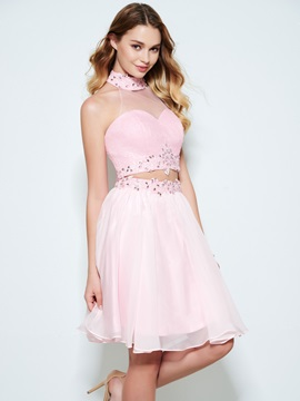 Halter Appliques Beading Sequins Two Piece Homecoming Dress & Designer Dresses for sale
