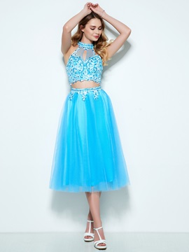 Fancy Halter Appliques Beading Two Piece Homecoming Dress & Designer Dresses on sale