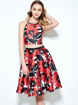 Fashionable Halter Two Piece Print Homecoming Dress & simple Designer Dresses