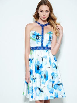 Modern Halter Beading Backless Print Homecoming Dress & Designer Dresses for sale