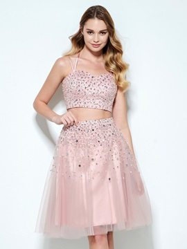 Spaghetti Straps Beading Sequins Two Piece Homecoming Dress & discount Designer Dresses