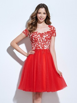 Short Sleeves Appliques Red Homecoming Dress