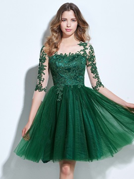 3/4 Length Sleeves Appliques Button Knee-Length Homecoming Dress & unusual Designer Dresses