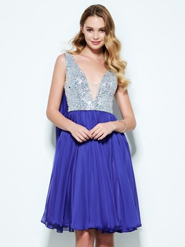 V-Neck Beading Sequins Knee-Length Homecoming Dress & Designer Dresses on sale