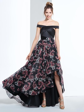 Off the Shoulder High Low Print Prom Dress & casual Designer Dresses