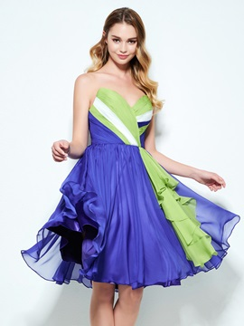 Color Block Sweetheart Pleats Knee-Length Homecoming Dress & colorful Designer Dresses