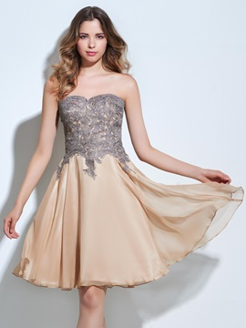 Strapless A-Line Appliques Knee-Length Homecoming Dress & Designer Dresses for sale