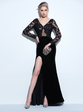 V-Neck Long Sleeves Split-Front Lace Evening Dress & fashion Designer Dresses