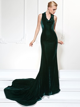 Gorgeous Mermaid Halter Velvet Court Train Evening Dress & Designer Dresses 2012