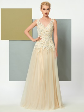 Charming A-Line V-Neck Appliques Lace Floor-Length Evening Dress
