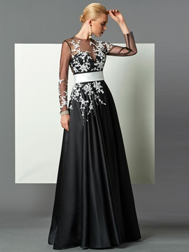 Delicate A-Line Jewel Neck Long Sleeves Appliques Floor-Length Evening Dress & inexpensive Designer Dresses