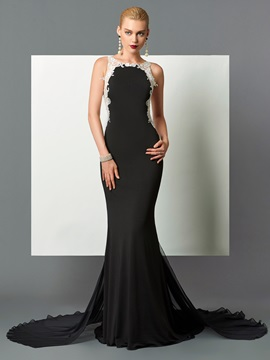 Pretty Scoop Mermaid Appliques Court Train Evening Dress & Designer Dresses from china