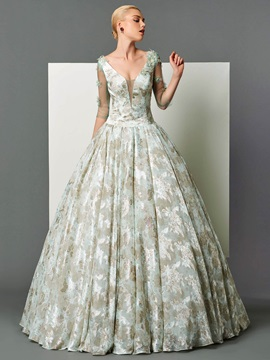 Vintage V-Neck Ball Gwon 3/4 Length Sleeves Printed Floor-Length Evening Dress & fairy Designer Dresses