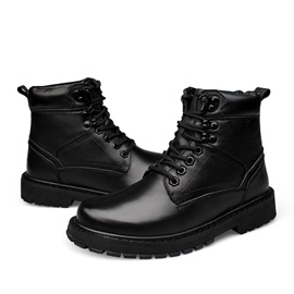 Black Round Toe Front Zip Plus Size Men's Boots