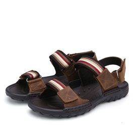Striped PU Velcro Sandals for Men