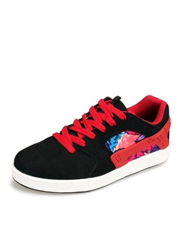 Floral Printed Suede Lace-Up Skater Shoes