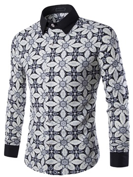 Floral Printed Lapel Single-Breasted Men's Casual Shirt