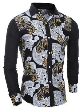 Floral Printed Casual Men's Long Sleeve Shirt