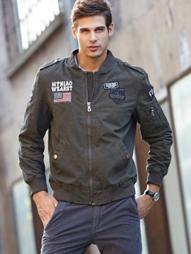 Zipper Stand Collar Letter Printed Men's Casual Jacket