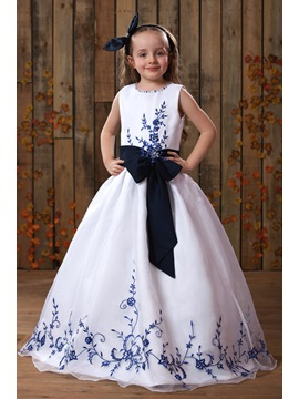 Floor-length A-line Embroidery Scoop Flower Girl Dress & fashion Faster Shipping Sale